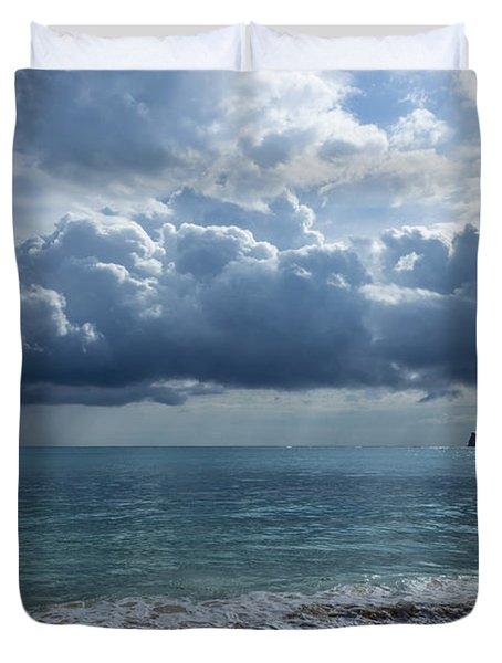 Rain Clouds At Waimanalo Duvet Cover by Leigh Anne Meeks