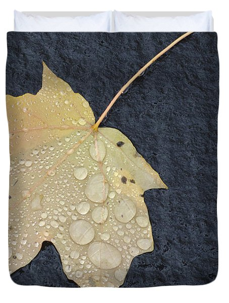 Rain Drops On A Yellow Maple Leaf Duvet Cover