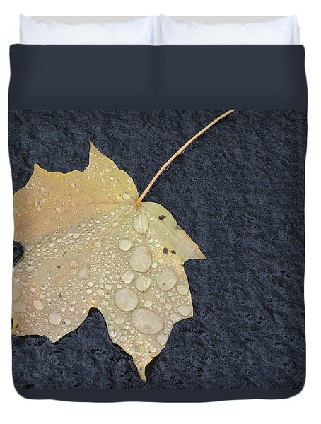 Rain Drops On A Yellow Maple Leaf Duvet Cover