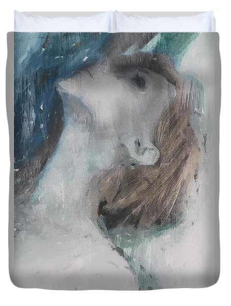 Duvet Cover featuring the digital art Rain by Galen Valle