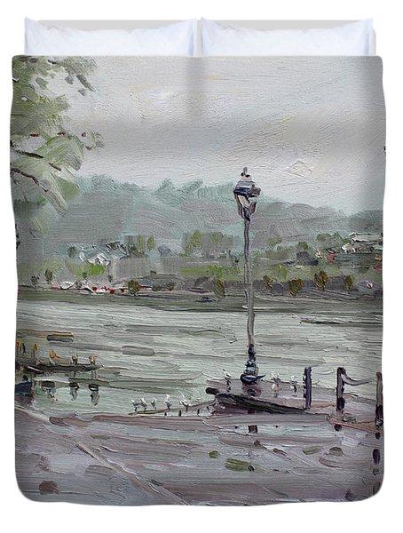Rain In Lewiston Waterfront Duvet Cover