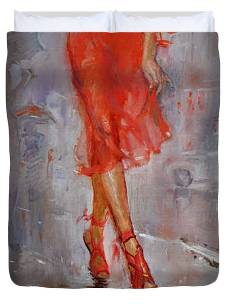Rain In Manhattan Duvet Cover by Ylli Haruni