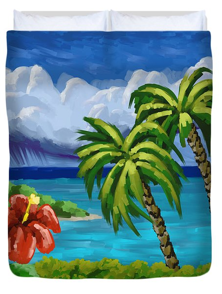 Duvet Cover featuring the painting Rain In The Islands by Tim Gilliland