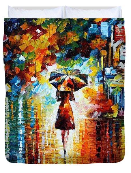 Rain Princess - Palette Knife Figure Oil Painting On Canvas By Leonid Afremov Duvet Cover