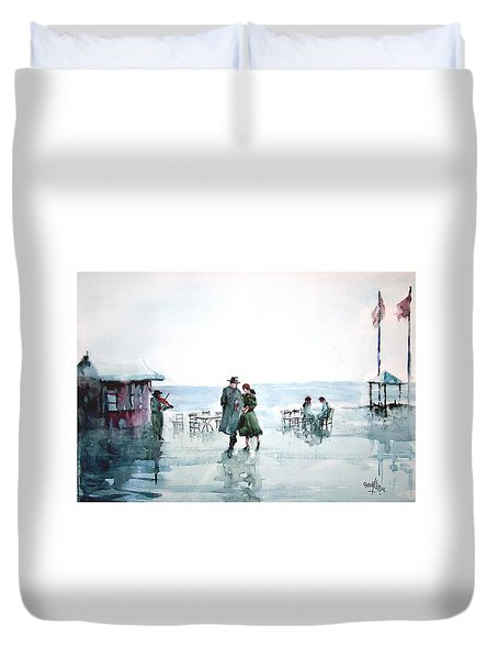 Duvet Cover featuring the painting Rain Serenad - Moments Of Life... by Faruk Koksal