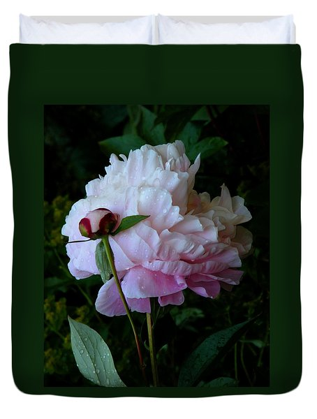 Rain-soaked Peonies Duvet Cover