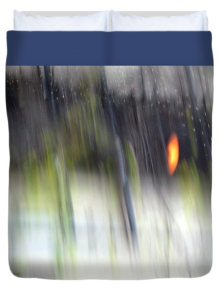 Duvet Cover featuring the photograph Rain Streaked City Scenes by Chris Anderson