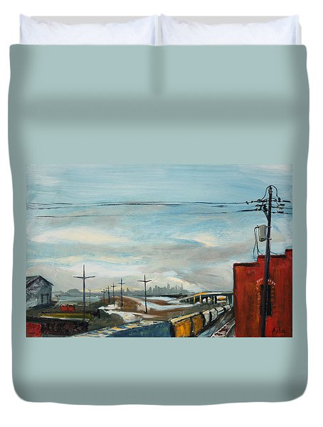 Duvet Cover featuring the painting Rain Train by Asha Carolyn Young