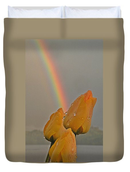 Rainbow And Tulips Duvet Cover