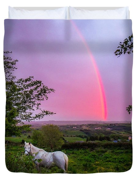 Rainbow At Sunset In County Clare Duvet Cover