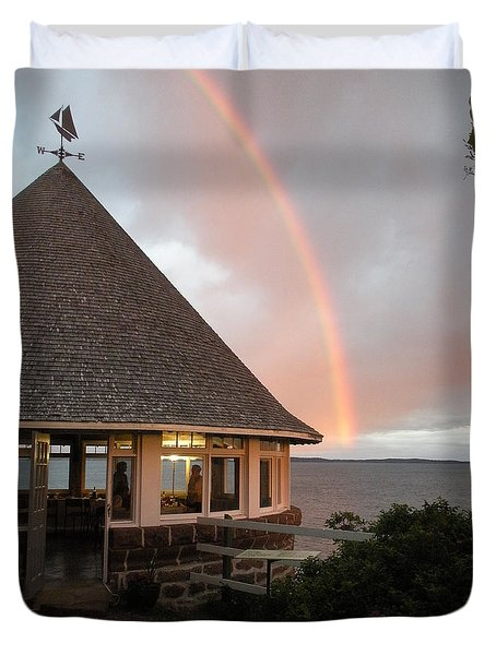 Rainbow At The Bath House Minister Island Nb Duvet Cover