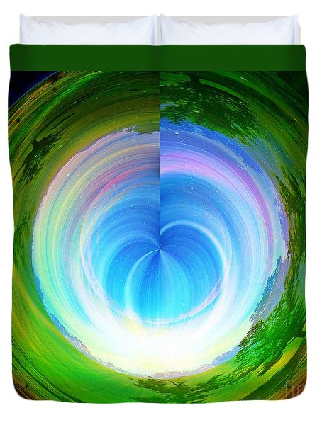 Duvet Cover featuring the photograph Rainbow At The End Of The Tunnel by Judy Palkimas