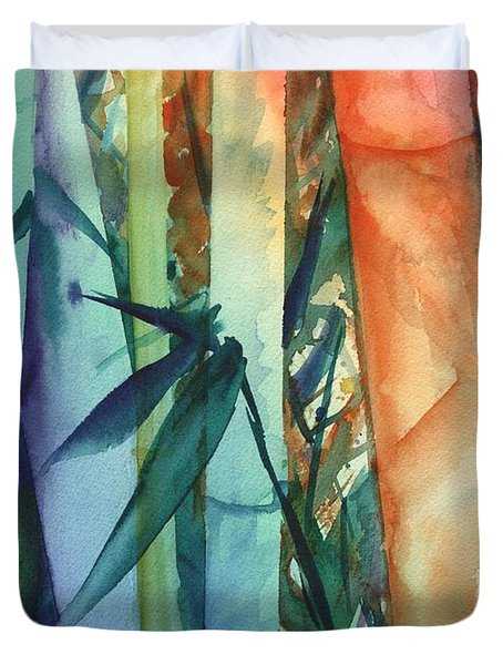 Duvet Cover featuring the painting Rainbow Bamboo 2 by Marionette Taboniar