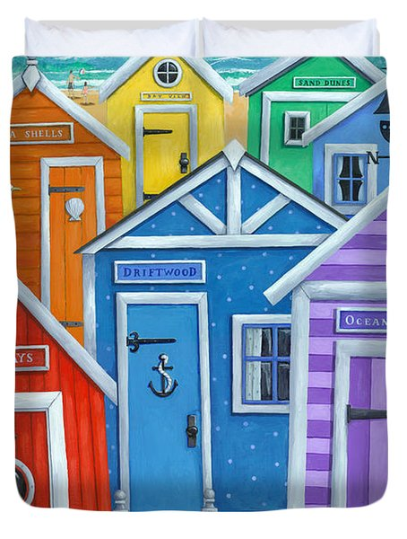 Rainbow Beach Huts Duvet Cover