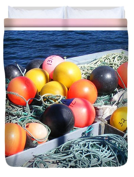 Rainbow Buoys Duvet Cover by Barbara Griffin