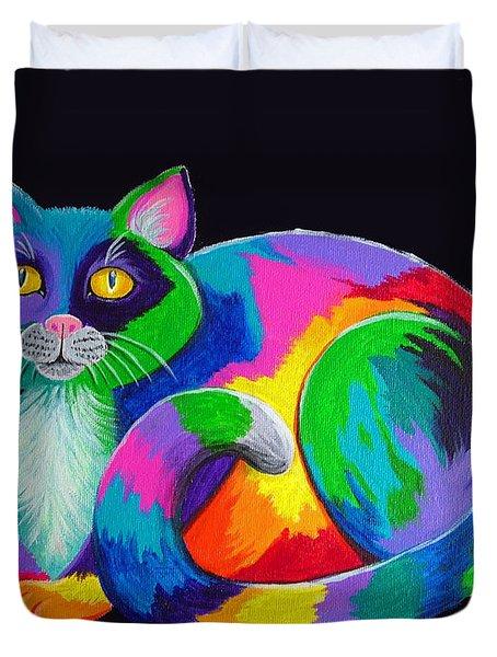 Rainbow Calico Duvet Cover