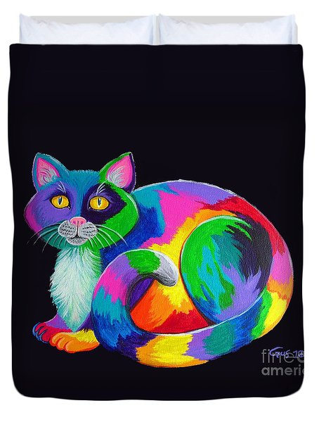Rainbow Calico Duvet Cover