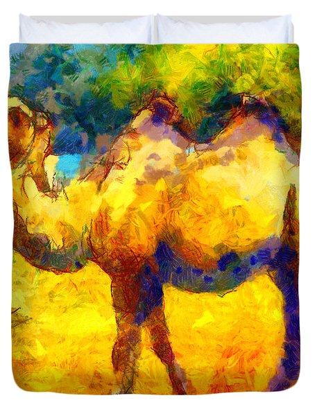 Rainbow Camel Duvet Cover by Pixel Chimp