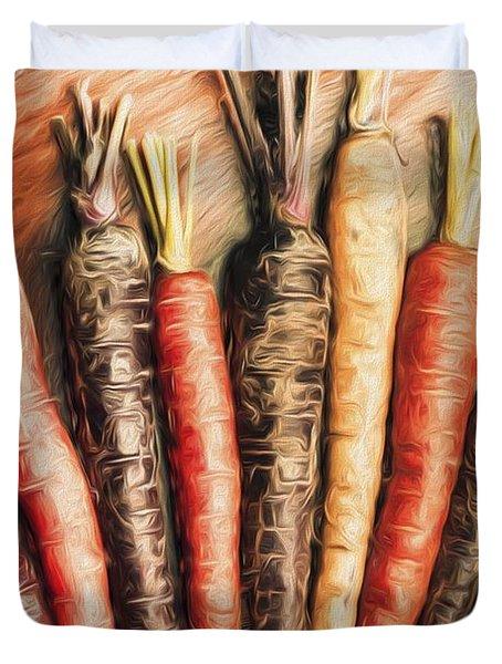 Rainbow Carrots. Vintage Cooking Illustration  Duvet Cover