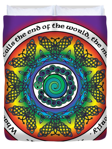 Rainbow Celtic Butterfly Mandala Duvet Cover