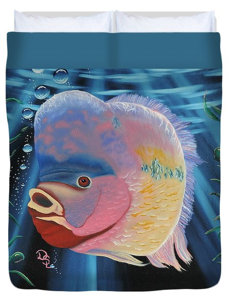 Duvet Cover featuring the painting Rainbow Devil Fish by Dianna Lewis
