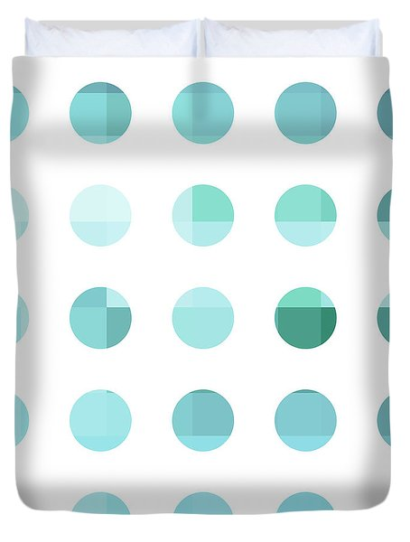 Rainbow Dots Aqua  Duvet Cover