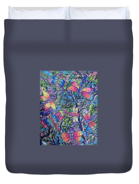 Duvet Cover featuring the painting Rainbow Dragons by Megan Walsh
