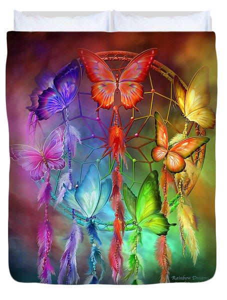 Duvet Cover featuring the mixed media Rainbow Dreams by Carol Cavalaris