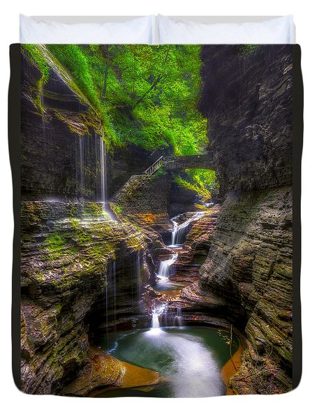 Rainbow Falls Of Watkins Glen Duvet Cover by Mark Papke