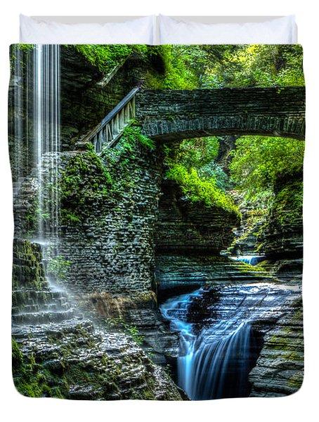 Rainbow Falls Watkins Glen Duvet Cover