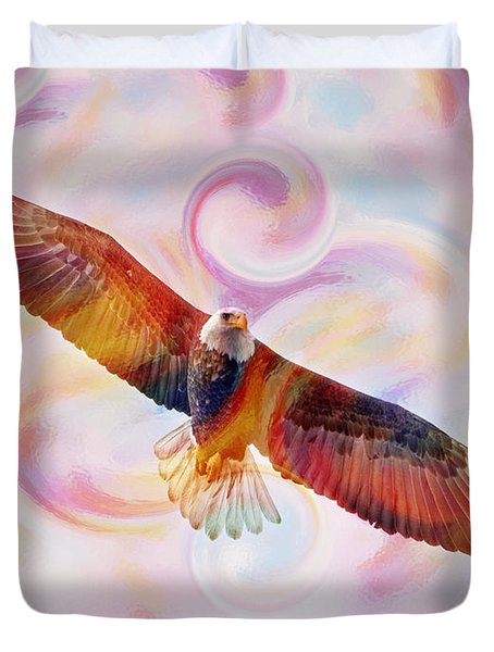 Rainbow Flying Eagle Watercolor Painting Duvet Cover