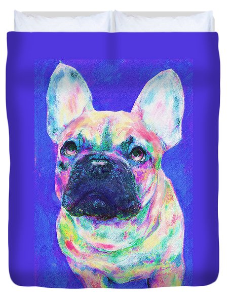 Duvet Cover featuring the digital art Rainbow French Bulldog by Jane Schnetlage