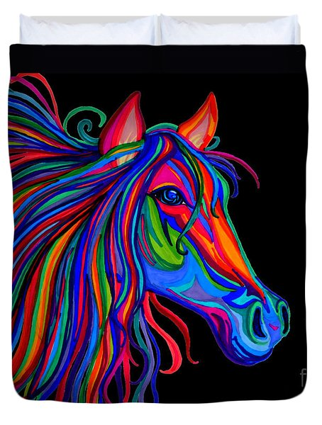 Rainbow Horse Head Duvet Cover