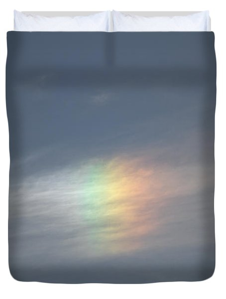 Duvet Cover featuring the photograph Rainbow In The Clouds by Eti Reid