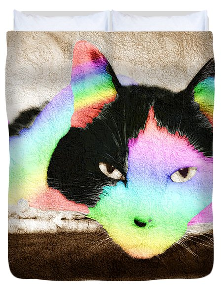 Rainbow Kitty Abstract Duvet Cover by Andee Design