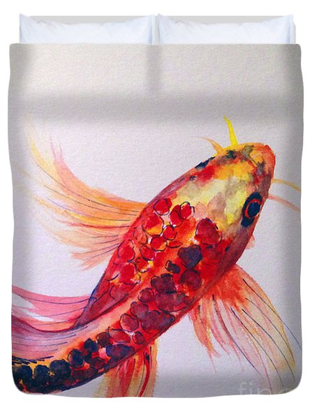 Duvet Cover featuring the painting Rainbow Koi by Lauren Heller