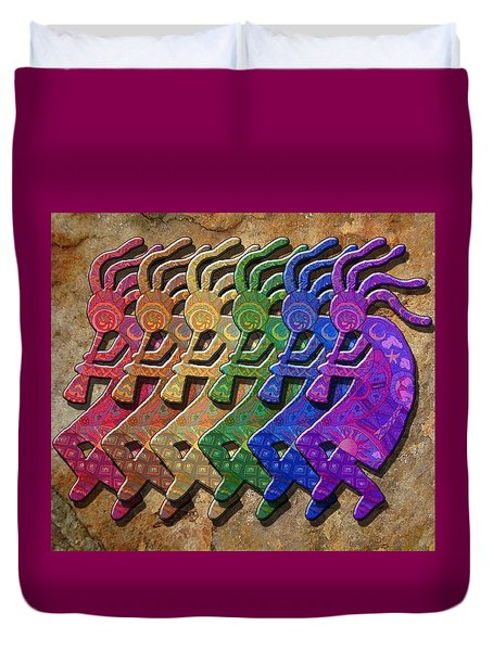Rainbow Kokopellis Duvet Cover by Megan Walsh