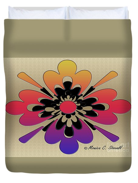 Rainbow On Gold Floral Design Duvet Cover