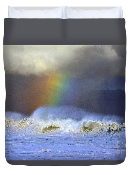 Duvet Cover featuring the photograph Rainbow On The Banzai Pipeline At The North Shore Of Oahu by Aloha Art