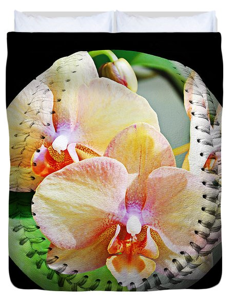 Rainbow Orchids Baseball Square Duvet Cover by Andee Design