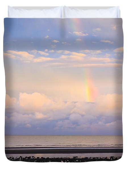 Duvet Cover featuring the photograph Rainbow Over Bramble Bay by Peta Thames