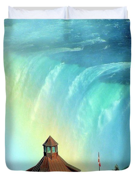 Duvet Cover featuring the photograph Rainbow Over Horseshoe Falls by Janette Boyd