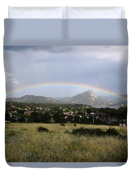 Rainbow Over Lake Estes Duvet Cover