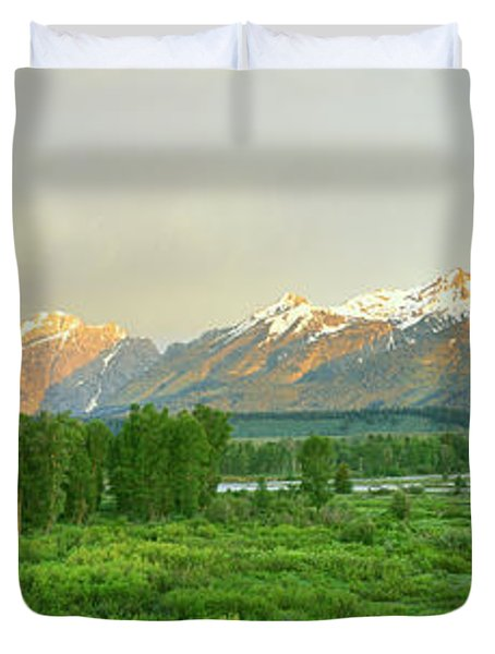 Rainbow Over Mountain Range, Blacktail Duvet Cover