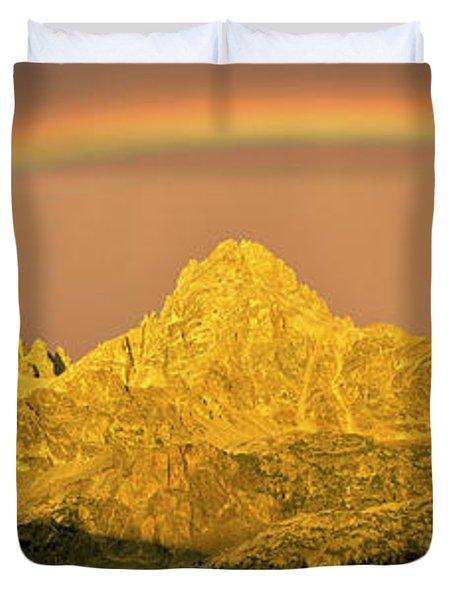 Rainbow Over Mountain Range, Teton Duvet Cover