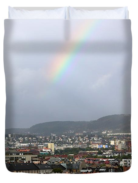 Rainbow Over Oslo Duvet Cover by Carol Groenen