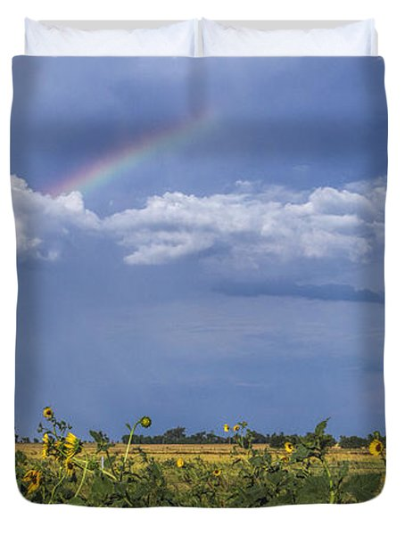 Rainbow Over Sunflowers Duvet Cover