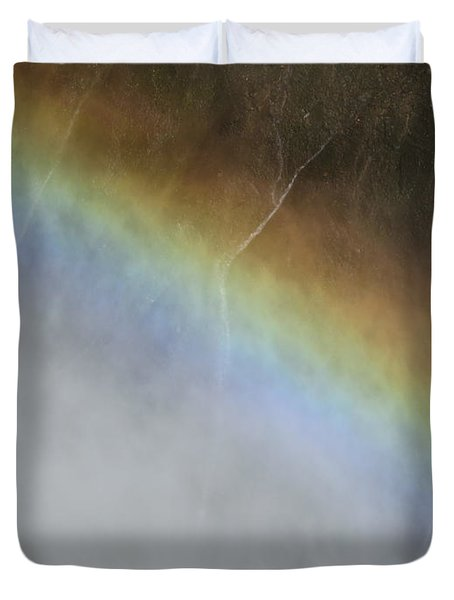 Duvet Cover featuring the photograph Rainbow Over The Falls by Laurel Powell