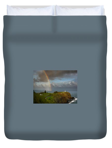 Rainbow Over Kilauea Lighthouse On Kauai Duvet Cover