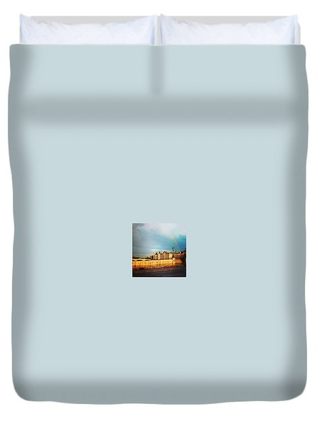 Rainbow Over The Seine. Duvet Cover by Allan Piper